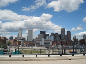 a blue Boston sky