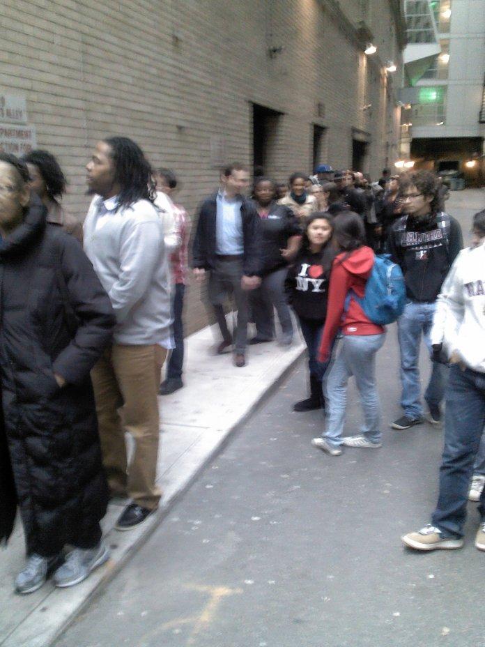 ticket holders in line