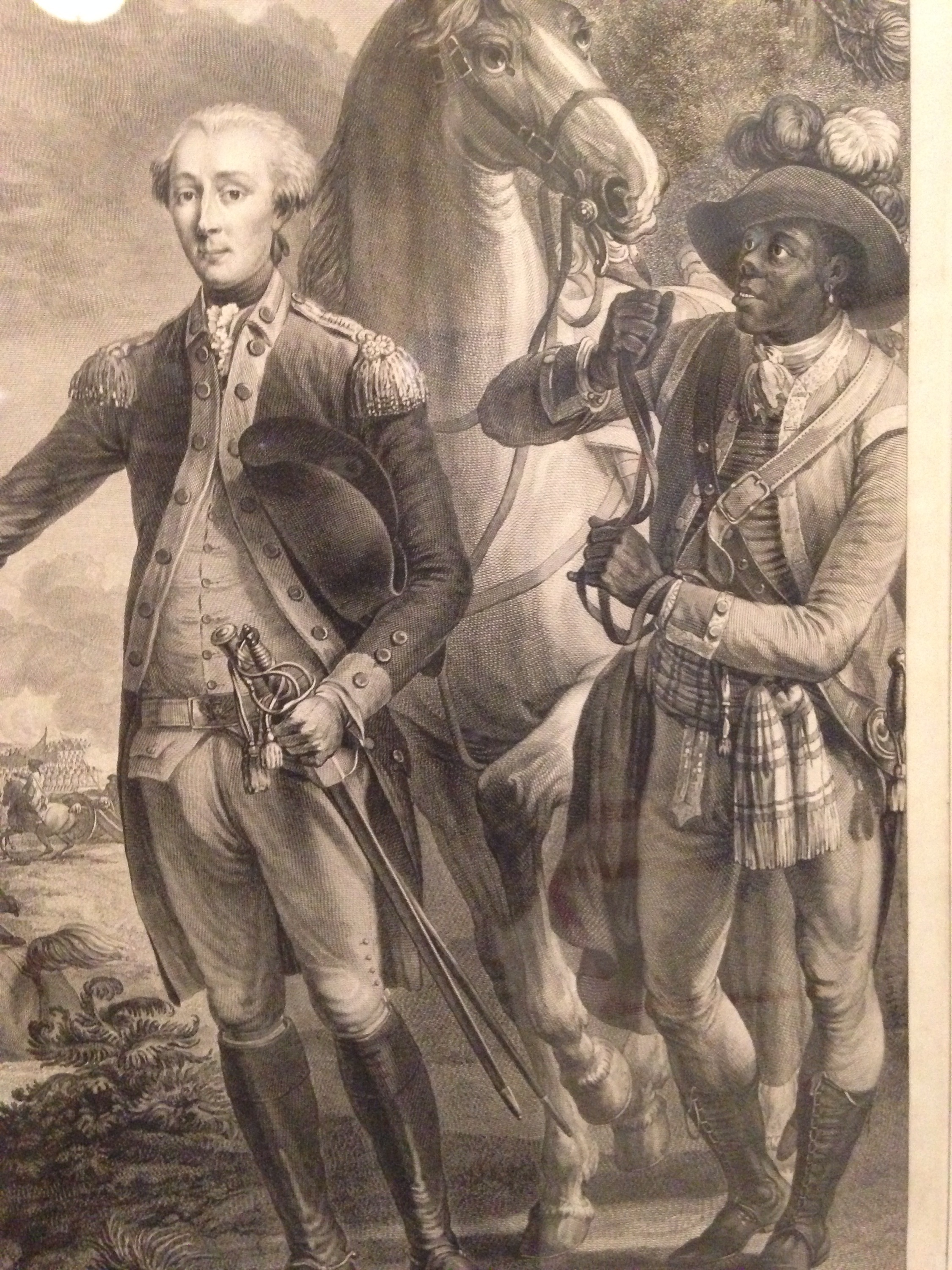 a Black Man, possibly a soldier, holds the horse for Marquis de Lafayette